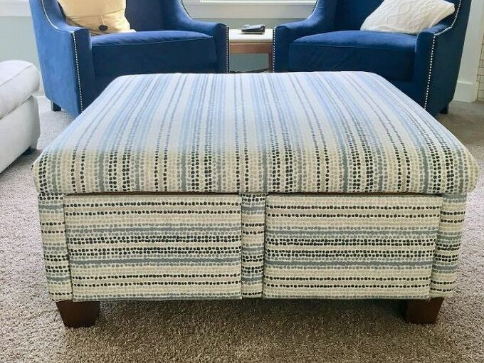free ottoman re upholstery before and after