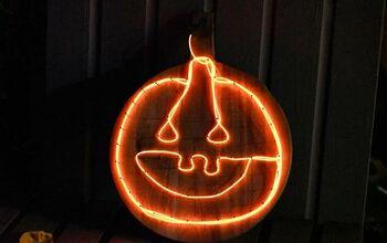 Upcycled Jack-O-Lantern Pumpkin Light Sign