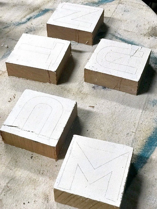rustic letter blocks for a mantel