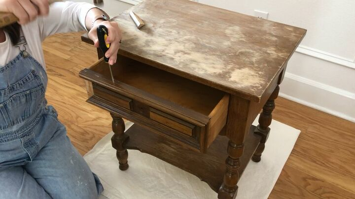 upholstery nailed nightstand