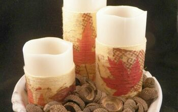 Decoupaged Yarn Wrapped Candles