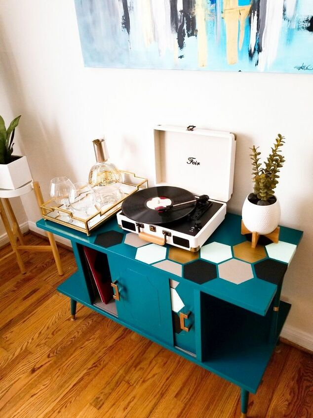 record cabinet make over, From a boring piece to a statement piece