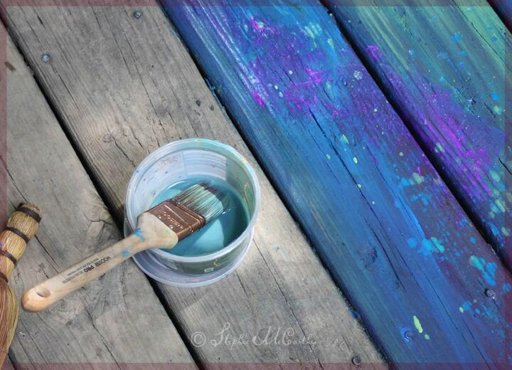 painting a deck in bohemian rainbow colors