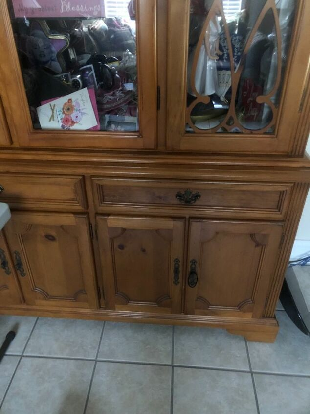 q how can i paint china cabinet to look lik a barn wood grayish