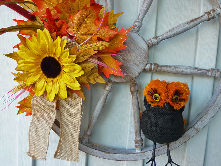 wreath from an old wooded wheel