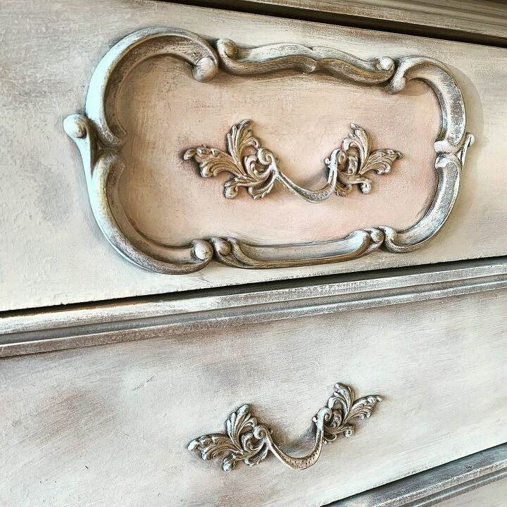 close up of painted vintage furniture