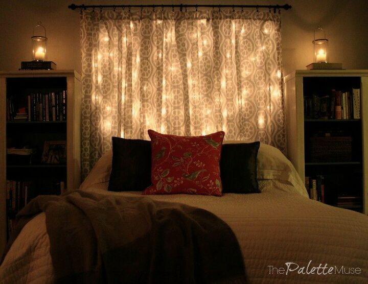 s 14 ways to make you home a cozy oasis, Make your own dreamy string light headboard