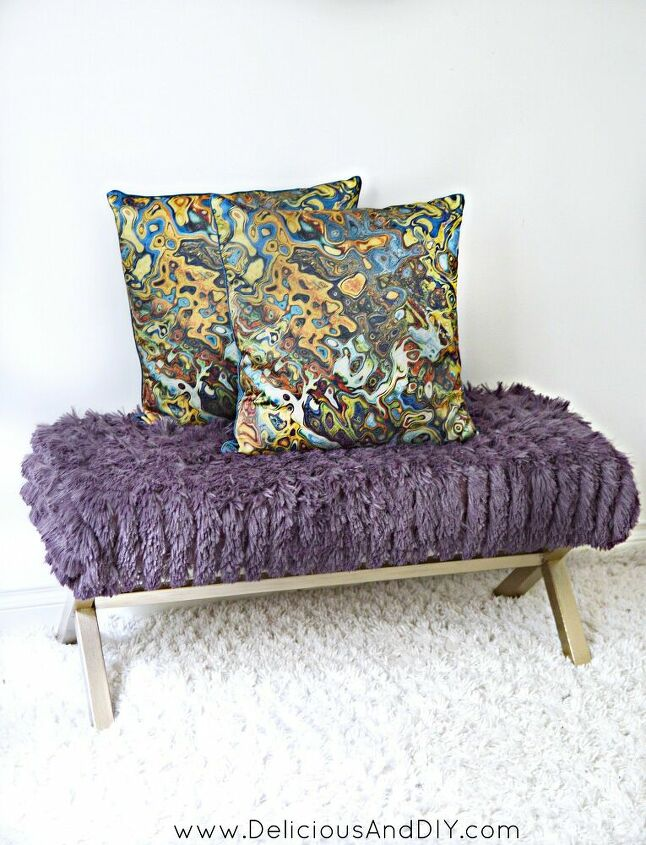 s 14 ways to make you home a cozy oasis, Makeover a bench with a fuzzy throw blanket