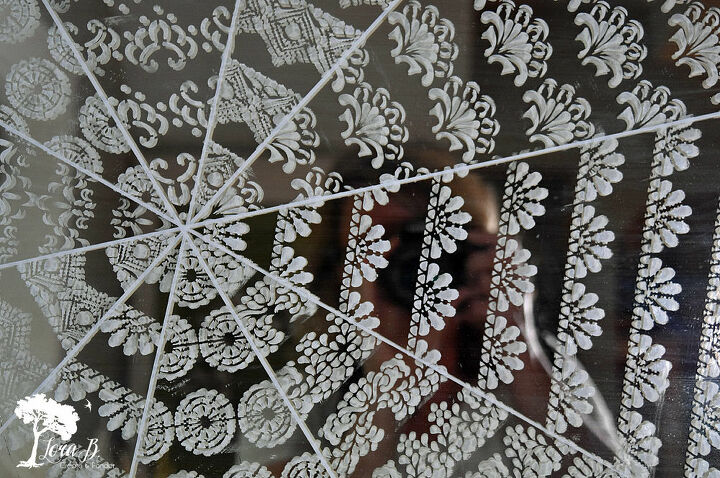 stenciled cobweb mirror
