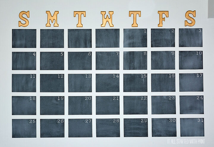 s 14 cool projects that you can totally do this weekend, Paint an over sized chalk wall calendar
