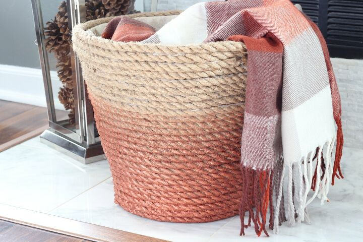 s 14 cool projects that you can totally do this weekend, Wrap a dollar store laundry basket in rope for this chic update