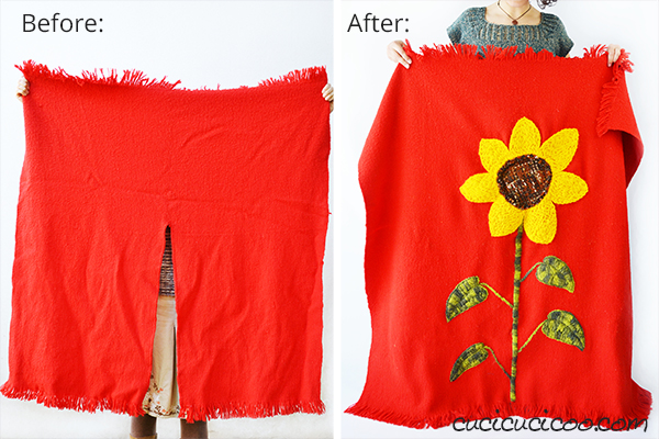 turn a poncho into a beautiful embroidered blanket