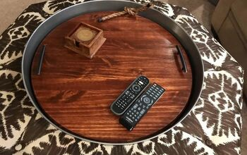 XL Industrial Look Wood and Metal Ottoman Coffee Table Tray