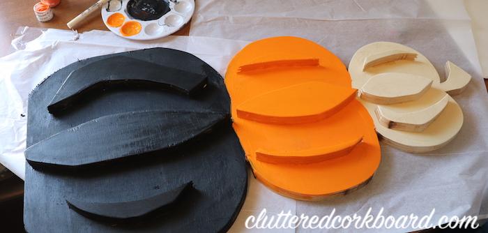 diy scrap wood stacked pumpkin decor for fall cluttered corkboard