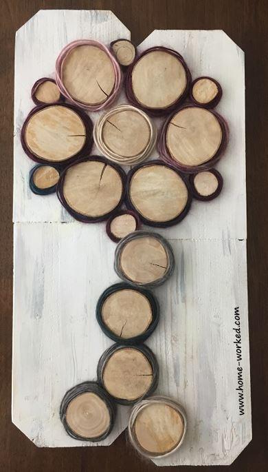wood slices flower tree