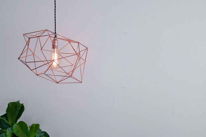s 14 pendant lighting ideas that you have to try, Rose gold light fixture made out of straws