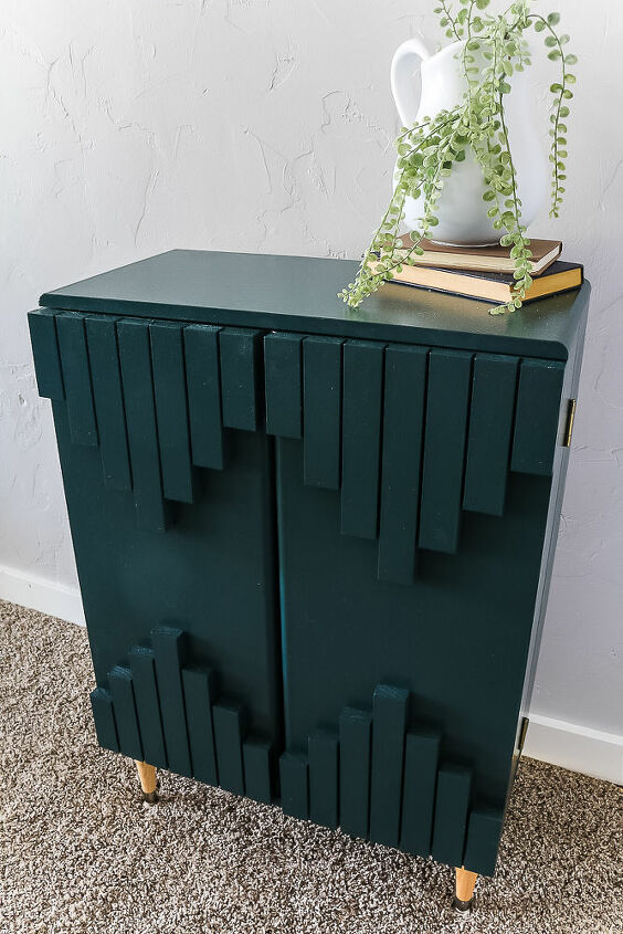 laminate cabinet transformation into green boho style cabinet
