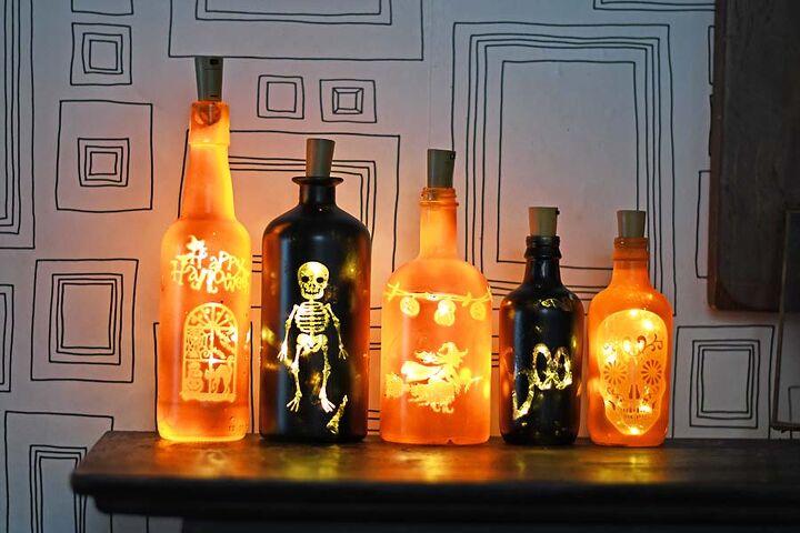upcycled fun halloween bottle lights