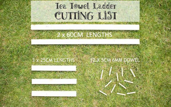 diy countertop kitchen tea towel ladder