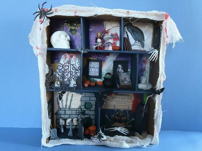 how to make an easy shadow box for halloween