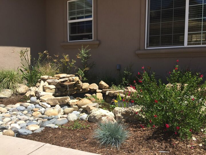 s outdoor pond, 2 Outdoor Pond with Stacked Rock Waterfall