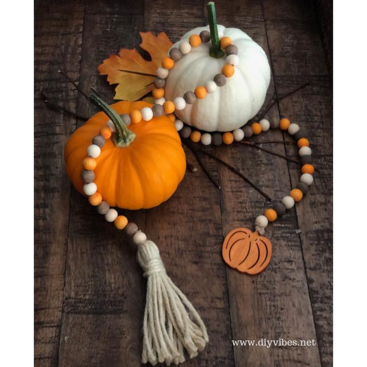 diy fall wood bead garland