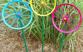 Repurposed Doll Carriage Wheel Flowers
