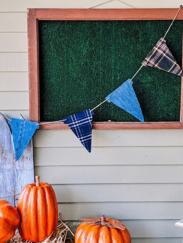 upcycled fall flannel banner