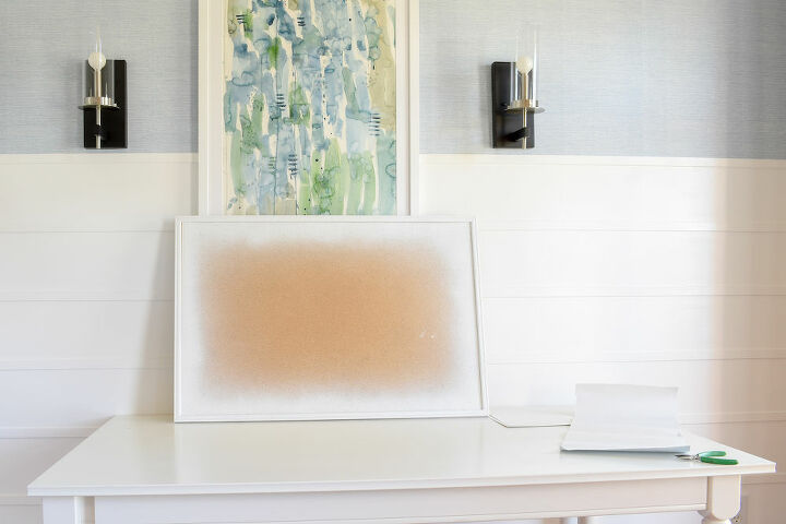 large wall art from a corkboard wallpaper scraps