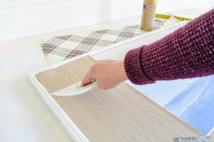 large wall art from a corkboard wallpaper scraps