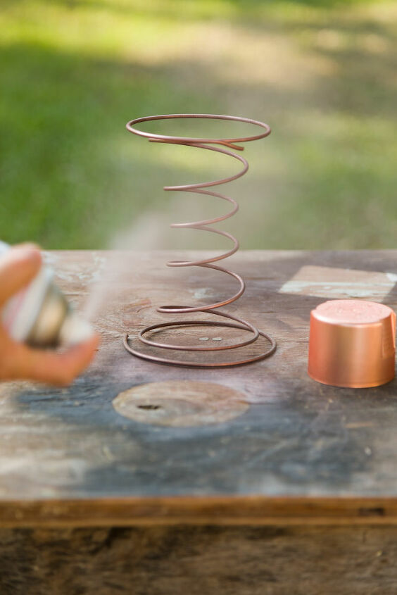 Spray painting the springs copper!