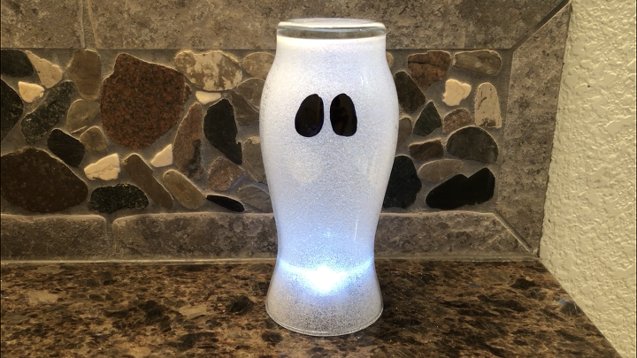 dollar store vase to glittery glowing ghost