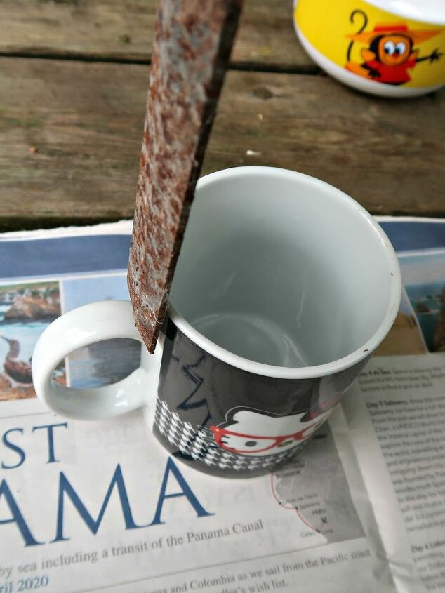 how to repurpose broken mugs into planters