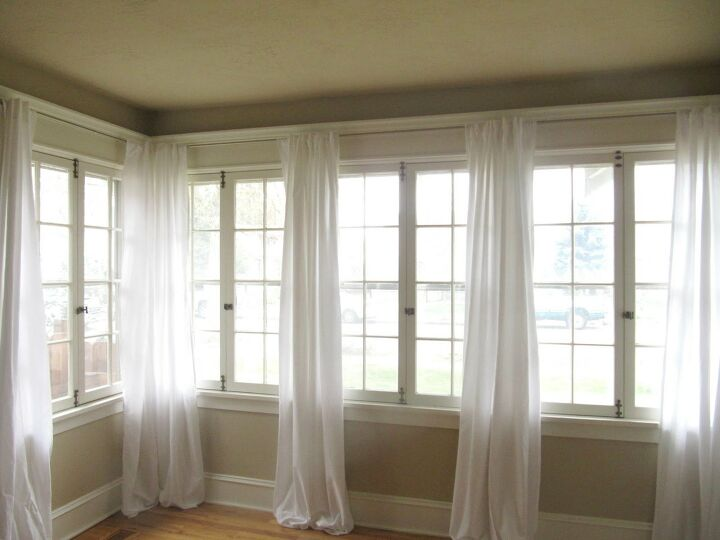 DIY white living room curtains