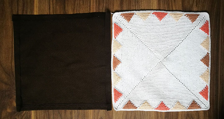 tapestry triangles crochet pillow