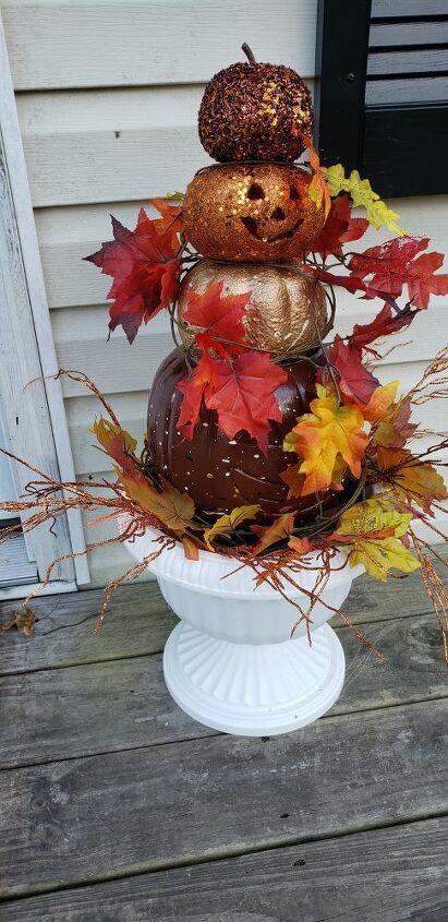 diy fall pumpkin topiary