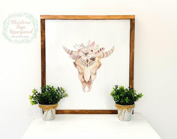 Boho Rustic Steer Sign