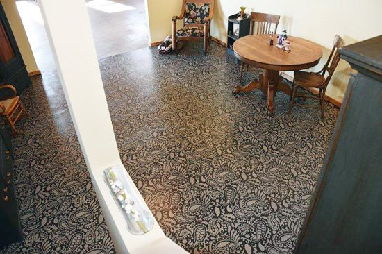stencil painted basement floor