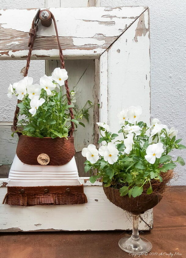 repurposing a tin into a unique handbag planter