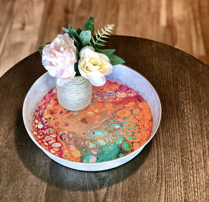 acrylic pour galvanised tray