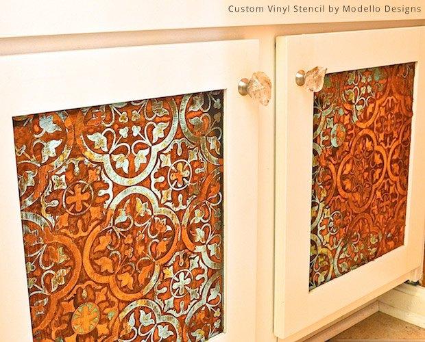 s bathroom cabinets, 4 Rustic Stencils for Bathroom Sink Cabinets