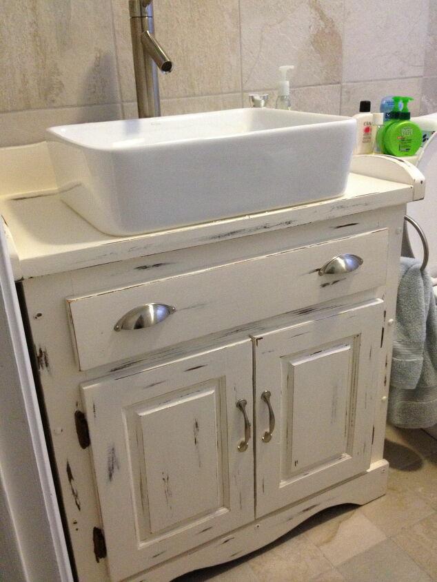 Painted Distressed Wooden Bathroom Vanity