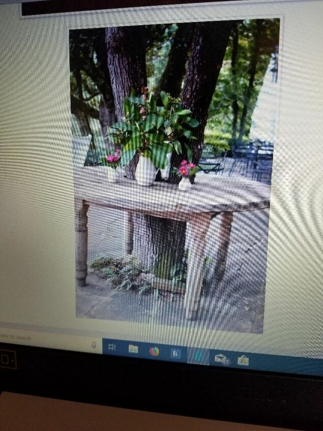 q how to place a wooden table around a tree