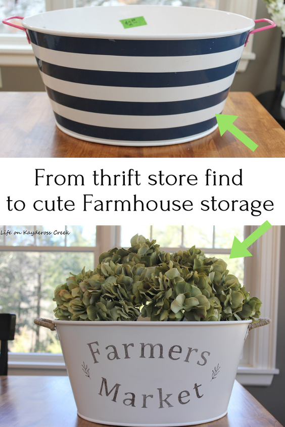 thrift store bucket makeover for farmhouse storage