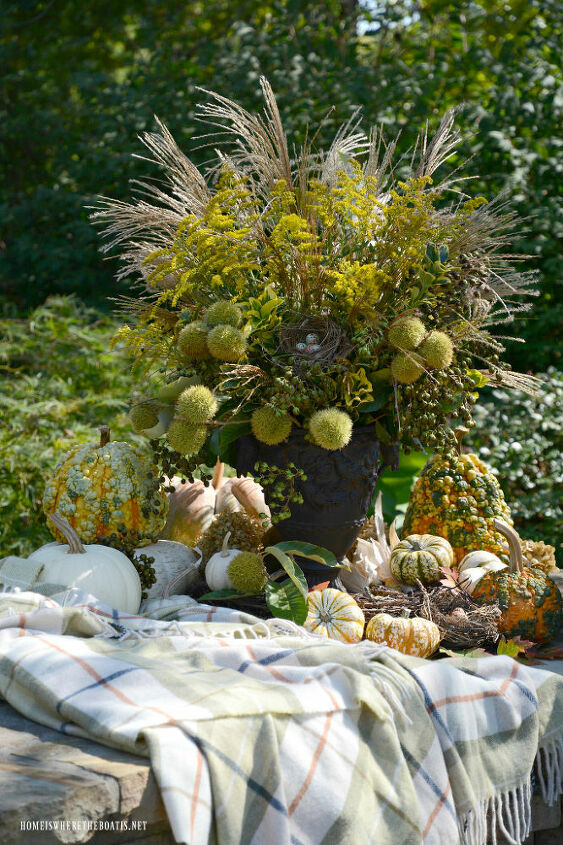 fall arrangement with foliage free for the picking