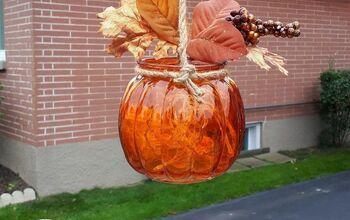 Dollar Store Glass Pumpkin Outdoor Lantern