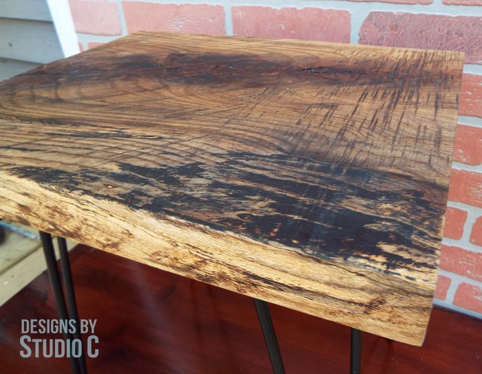 an easy to build side table using a wood slab