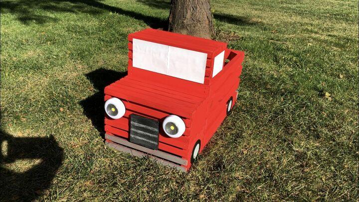 diy crate red pickup truck