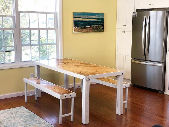 modern pieced wood kitchen table benches