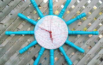 DIY Map Clock From Repurposed Spindles